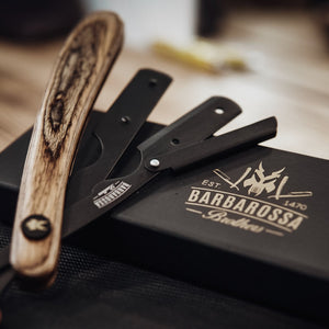 The Buccaneer Cut Throat Razor - Wooden - Brown with Black Blade Holder