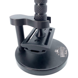 The Mutiny Double Edge Safety Razor Shaving Set in Black with Razor & Stand
