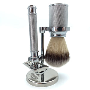 The Rossa Double Edge Safety Razor Shaving Set in Chrome with Razor, Brush & Stand