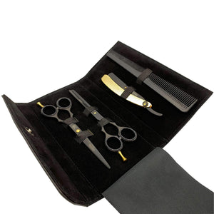 "Scissors - Hayreddin Japanese Steel Matt Black & 24k Gold Barber 6"" Scissors & Razor Set"
