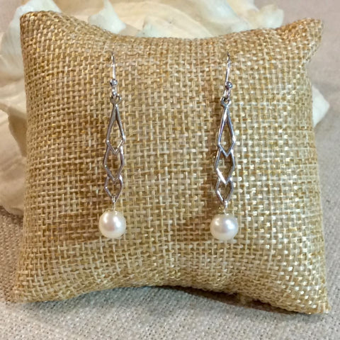 Icicle Drop Pearl Earrings- Sterling Silver - Pearl Jewelry