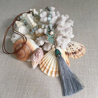 Leather Stones & Tassel Necklace - Amazonite With Gray Tassel - Pearl Jewelry