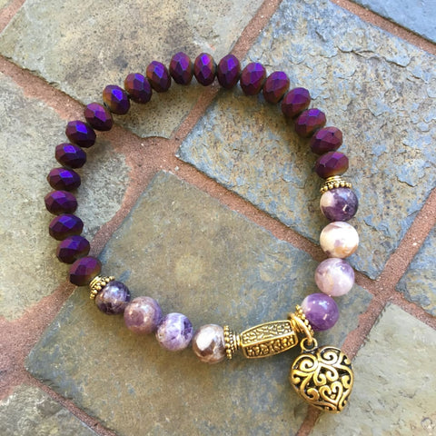 Matte Crystal And Stones Bracelet - Amethyst & Matte Purple Heart Charm / 7.5 Inches