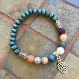 Matte Crystal And Stones Bracelet - Druzy & Matte Blue Leaf Charm / 7.5 Inches