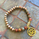 Matte Crystal And Stones Bracelet - Jasper & Matte Gold Lotus Charm / 7.5 Inches