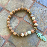 Verdigris Brass & Stones Bracelet - African Turquoise & Wood Feather / 7.5 Inches - Pearl Jewelry