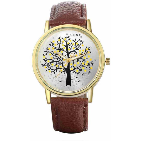 Brown Tree Of Life Wrist Watch Dresslland