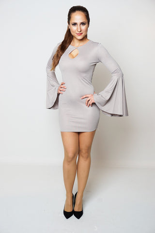 GREY BELL SLEEVES BODYCON DRESS DRESSLLAND