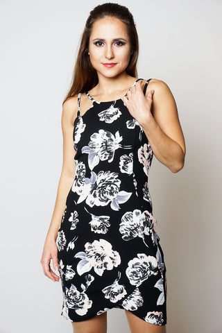 BLACK FLORAL FRONT WRAP OVERLAY CREPE STYLE SLEEVELESS BODYCON DRESS