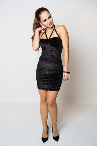 BLACK VELVET SHIMMER PADDED BUST DRESS - dresslland