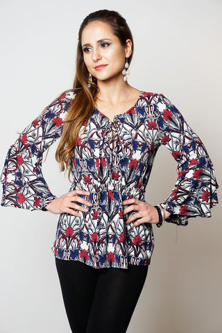 MULTICOLOURED FLORAL CREPE STYLE BELL SLEEVES FRONT TIE UP TOP DRESSLLAND