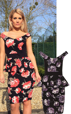 BLACK PURPLE PEPLUM FLORAL CREPE STYLE SLEEVELESS BODYCON DRESS