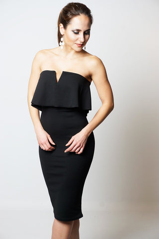 BLACK FRILL OVERLAY BANDEAU DRESS DRESSLLAND