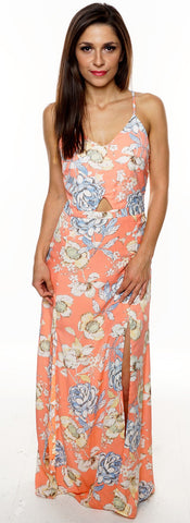 CORAL ALL OVER FLORAL SLIT SIDES CRISS CROSS BACK SLEEVELESS MAXI DRESS