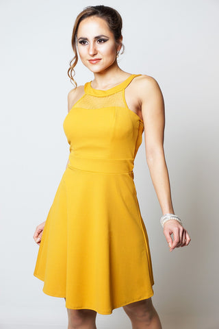 MUSTARD POLKA DOT MESH INSERT DRESS DRESSLLAND