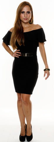 BLACK OFF SHOULDER FRILL OVERLAY BELT DETAIL BODYCON DRESS