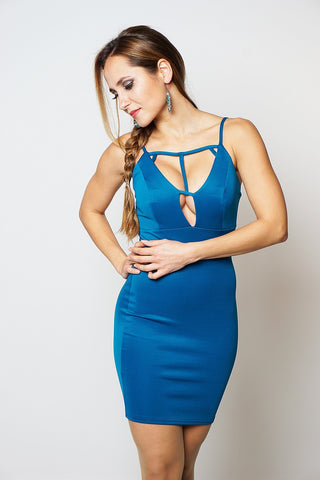 TEAL LOW PLUNGE CUT OUT DETAIL DRESS dresslland