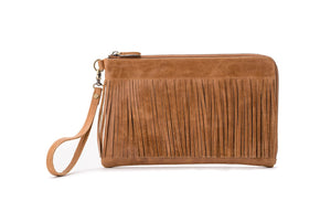 Reid Handbags Dolly Latte Fringe Clutch