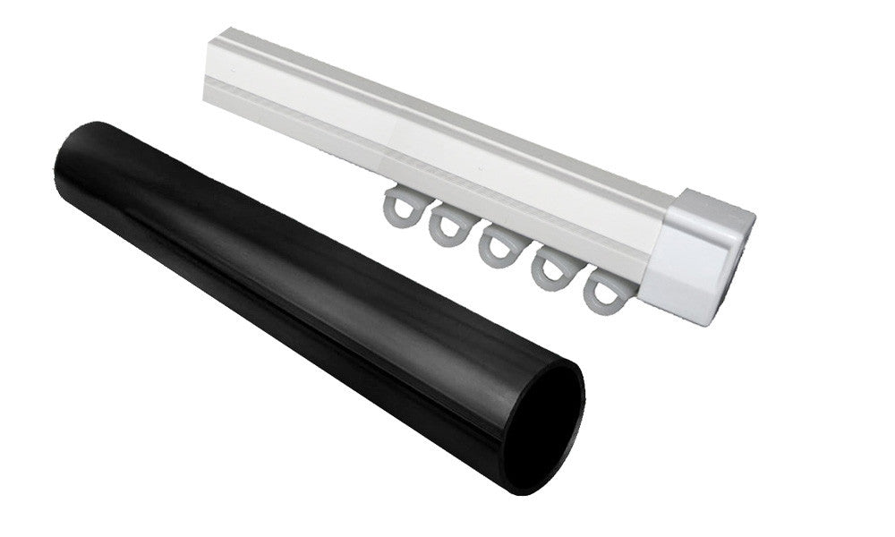 Double 25mm Black Metal Rod Amp Curtain Rail Combo Curtain