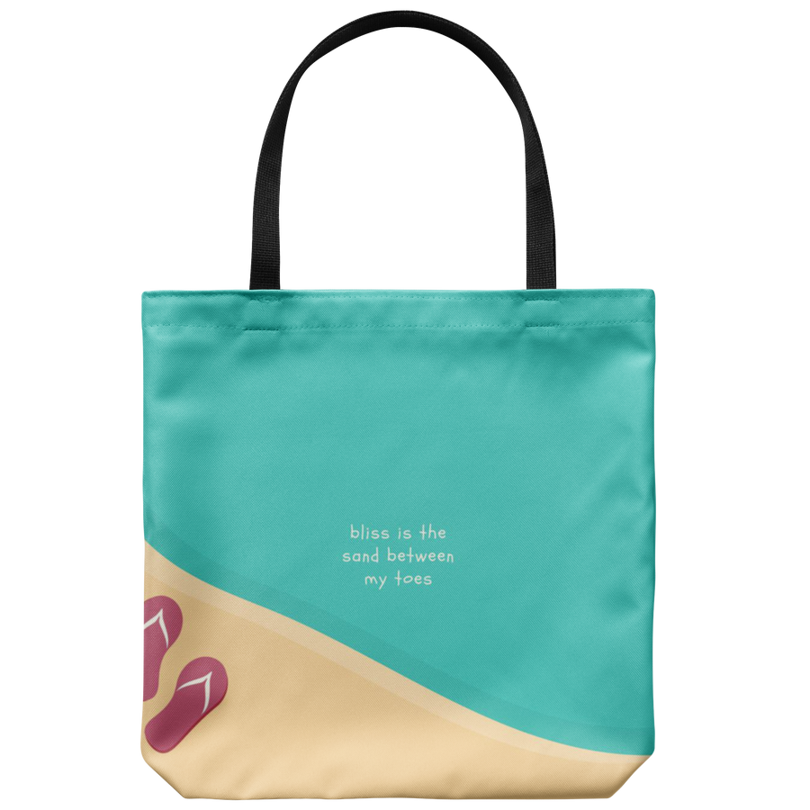'Bliss is the sand between my toes' Summer Quotes Tote Bag