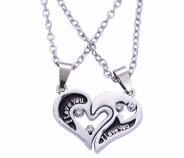 'I Love You' Stainless Couples Necklace Set