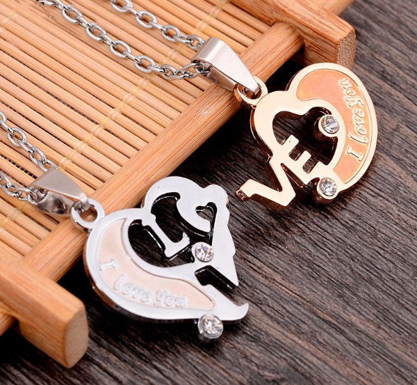 'I Love You' Romantic Couples Necklace Set