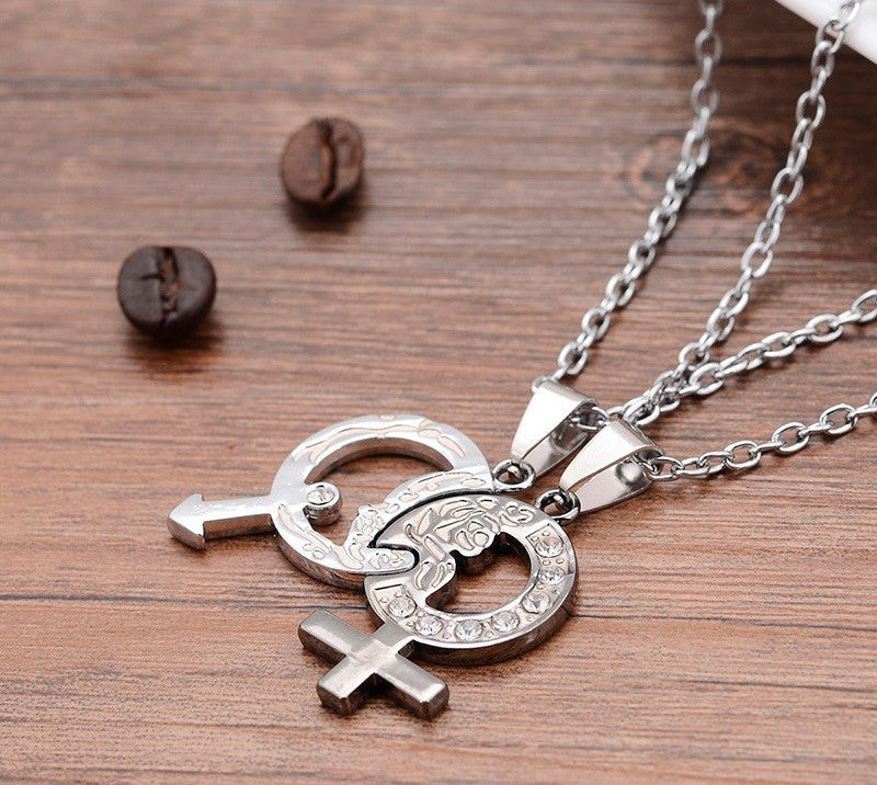 Mars and Venus Stainless Couples Necklace Set