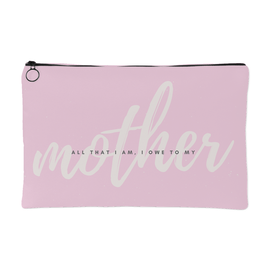 'All that I am, I owe to my mother' Mother Daughter Quote Pouch