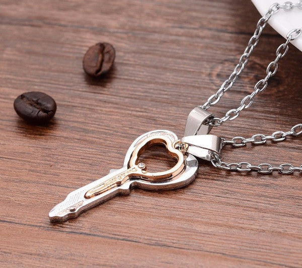 Twinky Heart and Key Couples Necklace