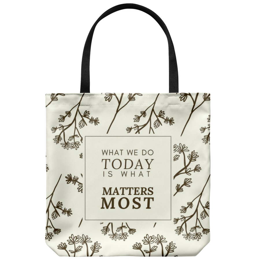 'What we do today is what matters most' Inspirational Good Morning Quotes Tote Bag