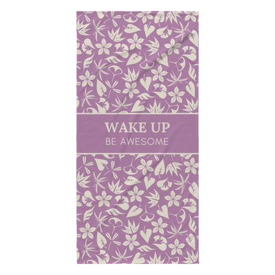 'Wake up, be awesome' Purple Good Morning Quotes Towel