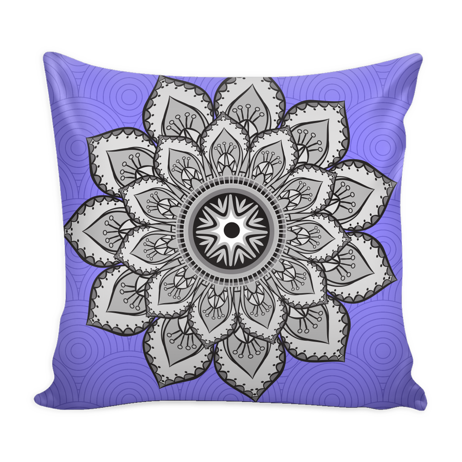 'Sacred Lotus' Blue Buddhist Mandala Pillow