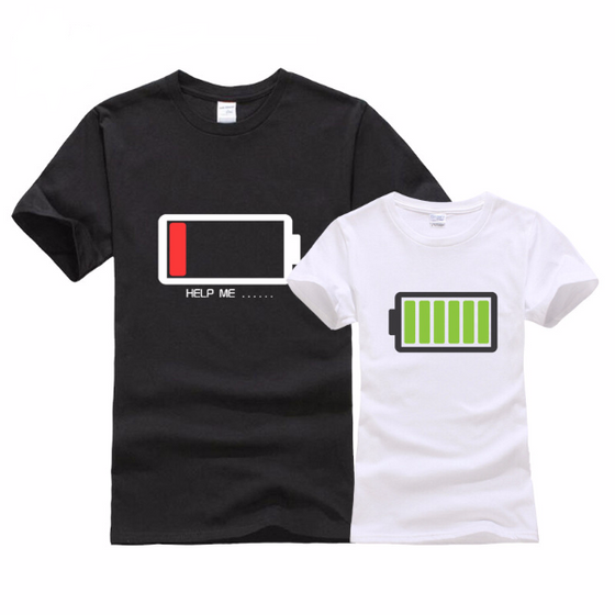 His and Her Battery Design Couple T-Shirts [14 Variants]