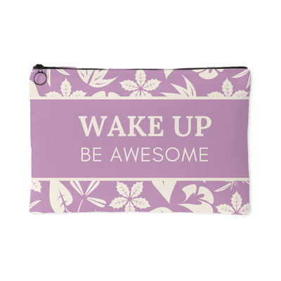 'Wake up, be awesome' Purple Good Morning Quotes Pouch