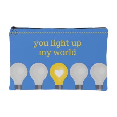 'You light up my world' Love Quotes Accessory Pouch