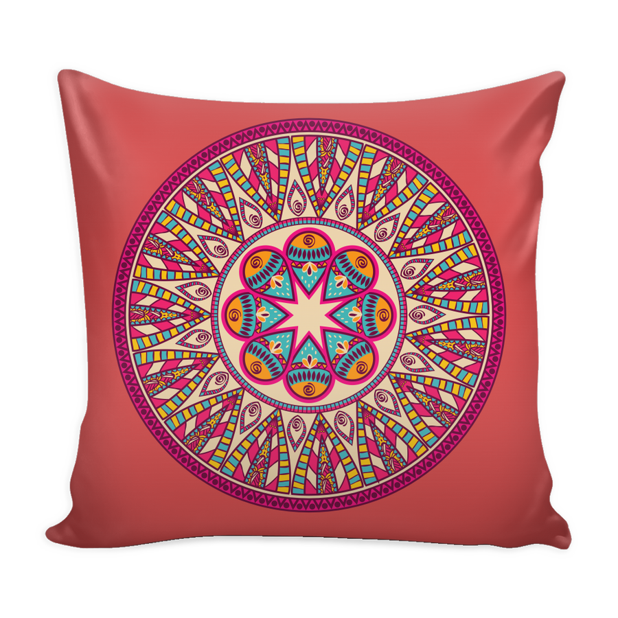 'Love' Buddhist Mandala Fuchsia Pillow