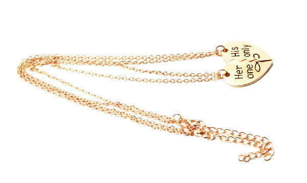'Her One' and 'His Only' Sweetheart Couples Necklace Set