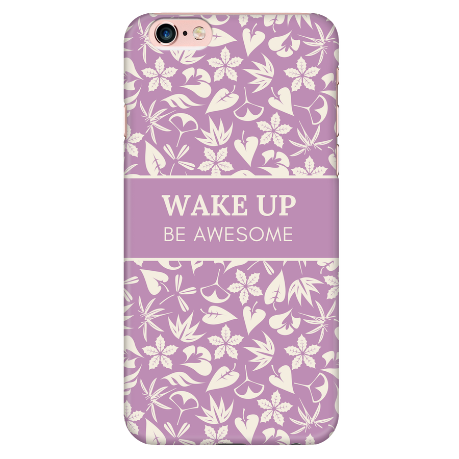 'Wake up, be awesome' Purple Good Morning Quotes iPhone Case