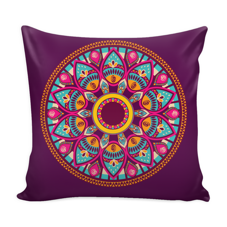 'Self-love' Buddha Mandala Purple Pillow