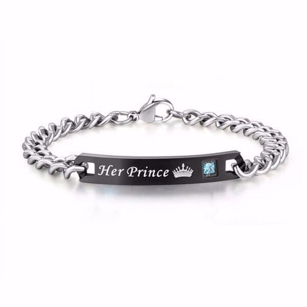 'Her Prince' and 'His Princess' Couple Chain Bracelets