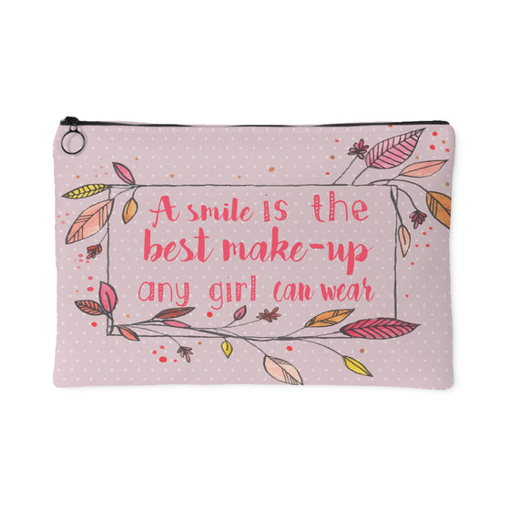 Accessory Pouches - 'A Smile Is The Best Makeup' Beautiful Smile Quotes Pouch