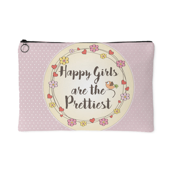 Accessory Pouches - 'Happy Girls Are The Prettiest' Beautiful Smile Quotes Pouch