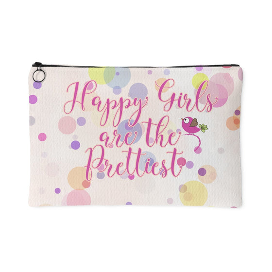 Accessory Pouches - 'Happy Girls Are The Prettiest' Quote Pink Pouch