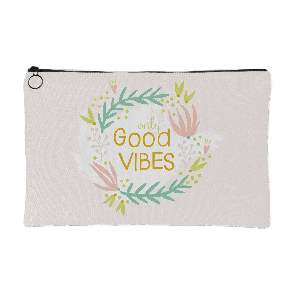 Accessory Pouches - 'Only Good Vibes' Quote Peach Pouch