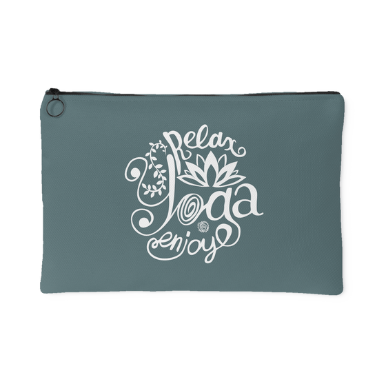 Accessory Pouches - 'Relay, Yoga, Enjoy' Quote Dark Green Pouch