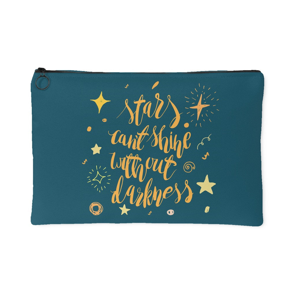 Accessory Pouches - 'Stars Can't Shine Without Darkness' Quote Dark Green Pouch