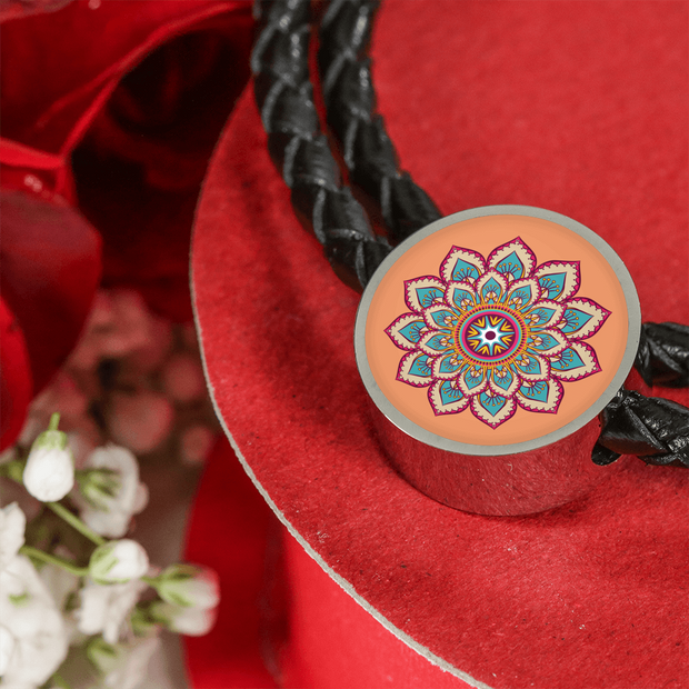 'Sacred Lotus of Love' Buddhist Mandala Charm Leather Wrap Bracelet