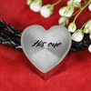 'His One' Couple Love Quotes Heart Charm Leather Bracelet [6 Variants]