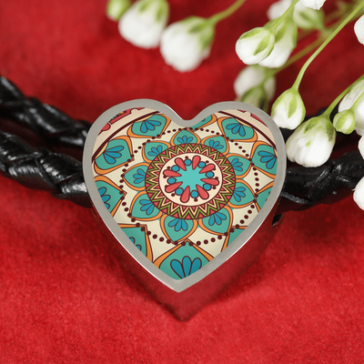 'Heart of Lotus' Buddhist Mandala Heart Charm Leather Wrap Bracelet