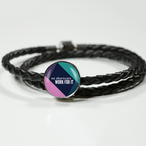 'No shortcuts, work for it' Inspiring Good Morning Quotes Leather Wrap Bracelet